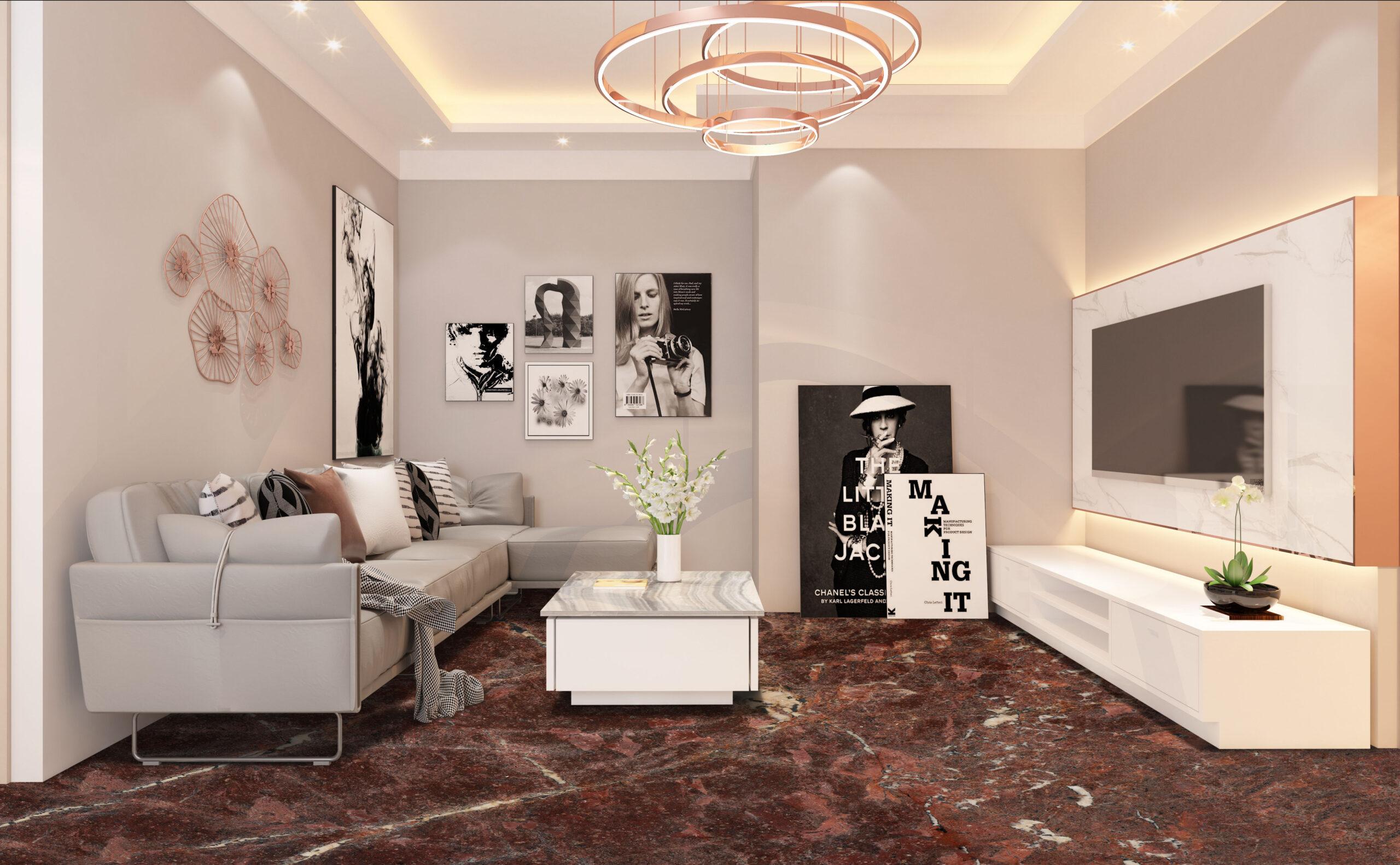 Granite flooring in living room interior